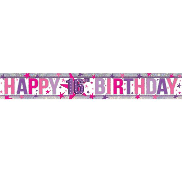 Holographic Happy 16th Birthday Foil Banner